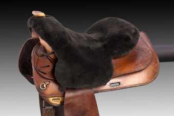 Seat saver, sheepskin, Western, Christ-0